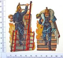 2 CHROMOS DECOUPIS.... POMPIERS ....SAUVETAGE ...FEU ...ECHELLE - Victorian Die-cuts