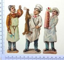 3 CHROMOS DECOUPIS...HOMMES ...MÉTIER ...BOUCHER....CUISINIER - Victorian Die-cuts