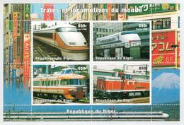 REPUBLIQUE  DU  NIGER     POSTES  1998    TRAINS ET  LOCOMOTIVES  DU  MONDE       S.SHEET  MNH - Niger (1960-...)