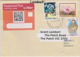 Australia 2019 Registered Domestic Letter Using 1982 Sturt's Desert Rose Prestamped Envelope. - Lettres & Documents