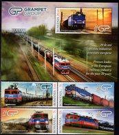 Romania - 2019 - Railways Of Romania - Grampet Group - Mint Stamp Set + Souvenir Sheet - 1948-.... Republics