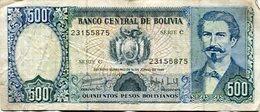 BILLETE DE 500 - QUINIENTOS PESOS BOLIVIANOS. BOLIVIA, AÑO 1981. AVAROA - PUERTO DE ANTOFAGASTA 1879 - LILHU - Bolivia