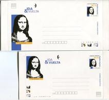 44968 Argentina  2 Stationery Letter Roundtrip, Allee Retour, 0,75+0,75c.showing Gioconda Mona Lisa Of Leonardo Da Vinci - Celebrità