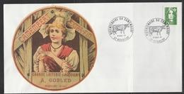 OBLIT. ILLUSTRÉE BICENTENAIRE CAMEMBERT/VACHE - ACQUIGNY 1/12/1991 - Postmark Collection (Covers)
