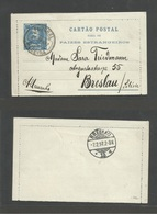 PORTUGAL-FUNCHAL. 1897 (28 May) Funchal - Breslau, Silesia (7 Feb) 50rs Blue Mouchon Stat Lettersheet, Cds. VF. Used. - Portugal