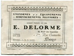 RC 12655 CATALOGUE 1916 UNIFORMES EQUIPEMENTS MILITAIRES E. DELORME A PARIS TB - Vieux Papiers