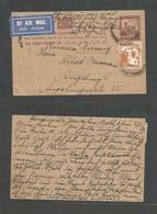PALESTINE. 1934 (27 May) Jerusalem, Beth Bluin - Germany, Bayern. Air 4p Red Stat Card + Adtl, Cds Uprated. Fine. Intere - Palestine