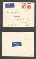PALESTINE. 1938 (17 Jan) Erramle - UK, Hants, Watford. Air Multifkd Envelope; 13m Rate Cds. Fine. - Palestine