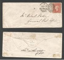 AUSTRALIA. 1862 (Nov 13) Sydney - GPO. Local 1d Red Envelope. Lovely Condition. XF Usage. - Australie