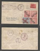 HONDURAS. 1930 (25 Dic, Christmas Day. Tegucigalpa - Puerto Cortes. Local Registered Air Fkd +  Multiple Ovpt Issues, Ti - Honduras