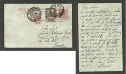 LIBIA. 1925. Tripoli - Roma, Italy. Reply Half Ovptd Stat Card + Adtl. Fine Used. - Libya