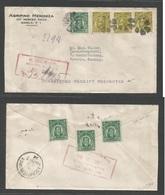 PHILIPPINES. 1924 (July 2) Manila - Germany, Aschaffenburg. Registered Multifkd Envelope 16c (x3) + 2c. 50c Rate + Recei - Philippines