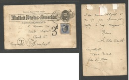 USA - Stationery. 1894 (2 Jan) Fayettenville, Tennessy - England, Liverpool. 1c Stat Card + 1c Blue Adtl + Taxed 3d At A - Unclassified