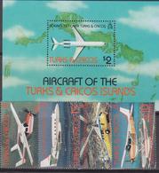 Turks And Caicos Is. - Aerei Airplane Map Sheet + Set  MNH - Turks E Caicos