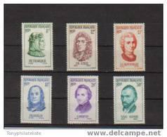 France Personnages Célèbres Timbres De 1956 N°1082 Au N°1087 Neuf  ** Sans Charnière (cote 18,50€) - Neufs