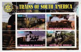 REPUBLIC OF SOMALIA   ROTARY  INTERNATIONAL      TRAINS OF SOUTH AMERICA          S.SHEET    (TIMBRATO) - Somalia (1960-...)
