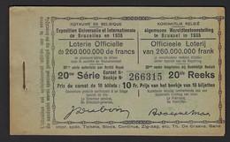 WERELDTENTOONSTELLING 1935 * BRUSSEL * VOLLEDIG BOEKJE * 20ste REEKS * EXPO BRUXELLES * CARNET COMPLET - Billets De Loterie