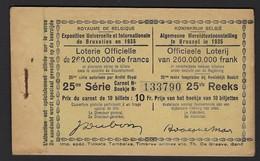 WERELDTENTOONSTELLING 1935 * BRUSSEL * VOLLEDIG BOEKJE * 25ste REEKS * EXPO BRUXELLES * CARNET COMPLET - Billets De Loterie
