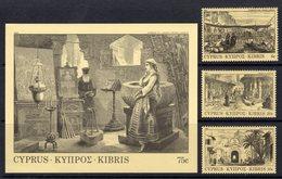 CYPRUS - 1984 OLD ENGRAVINGS SET (3V) & MS FINE MNH ** SG 628-630, MS631 - Unused Stamps
