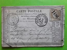 Carte PRECURSEUR,LA FERTE SOUS JOUARRE, Seine Et Marne  GC 1496/ CERES 55, 15 C Bistre,9 Oct 1875 > Sourdeval Manche - 1849-1876: Periodo Classico