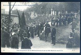 Cpa Anniversaire De La Semaine Sanglante Les Drapeaux De La Bellevilloise Et De La XXè Section Du PS (2)   AFS5ter - Paris (20)