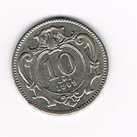 //  OOSTENRIJK  10  HELLER  1909 - Autriche
