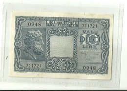 """3550 """"BANCONOTA DA DIECI LIRE TESTA DI GIOVE-1944-CONDIZIONI OTTIME"""" ORIGINALE - [ 1] …-1946 : Kingdom"""