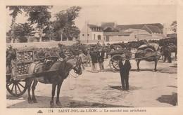 CPA:SAINT POL DE LÉON (29) ATTELAGE MARCHÉ AUX ARTICHAUTS....ÉCRITE - Saint-Pol-de-Léon