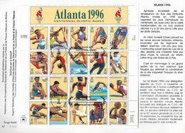 USA - Etats Unis 1996 - 2490 à 2509 Et France 1996 - 3016 Centenaire Des JO Dans Un Encart Double Page - Timbres