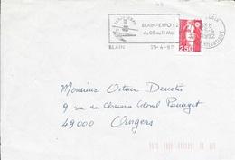 LOIRE ATLANTIQUE 44  -  BLAIN        - FLAMME  :  BLAI N EXPO / DU 08 AU 11 MAI      - 1992  -  PAGE DE DEVANT - Marcophilie (Lettres)