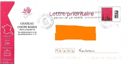 Cachet Manuel La Caunette Hérault Sur PAP Monuments Chateau Coupe Roses Vin Alcool Toshiba - Marcophilie (Lettres)