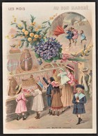 """Au Bon Marché - Paris - Maison A. Boucicaut -  5 Chromos """"les Mois"""" - Publicité - Exposition Universelle 1900 - Old Paper"""