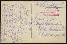 FELDPOST 1914/18, AK ARS AN DER MOSEL, ROTER ZENSUR STPL UND BLAUER BRIEFSTEMPEL - Occupation 1914-18