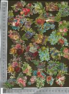 CHROMO DECOUPIS GAUFRÉ / LOT DE 34 PETITS MOTIFS FLEURIS - Flowers