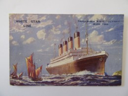 """CP White Star Line - Triple-Screw R.M.S. """"OLYMPIC"""" - Carte Signée Walter Thomas Préremplie Lord Warden Hotel Dover - Steamers"""