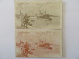 2 CPA Illustrateur Red Star Line Identiques (nuances De Couleurs) Signées Cassiers, Non-circulées - Otros Ilustradores
