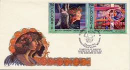 Lote 2008-9F, Colombia, 1995, SPD - FDC, Mitos Y Leyendas, Myths And Legends, Verde - Colombia