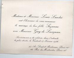 Paris : Faire Part De Mariage  LANDRE / LUSIGNAN   1956 (PPP18235) - Wedding
