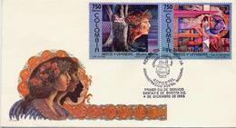 Lote 2008-9aF, Colombia, 1995, SPD - FDC, Mitos Y Leyendas, Myths And Legends, Violeta, Verde - Colombia