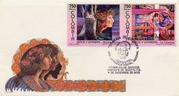Lote 2010-1aF, Colombia, 1995, SPD - FDC, Mitos Y Leyendas, Myths And Legends, Reptile, Woman, Music, Violeta - Colombia