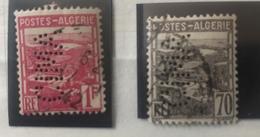 Perforé Perfin Algérie, YT164 Et 165 Voir Images - Algeria (1924-1962)