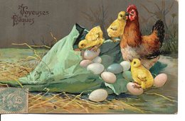 Magnifique Illustrée Gaufrée : Poule, Poussin Et Oeufs Dans Un Cornet - Pâques