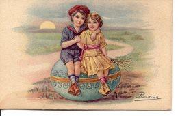 Belle Illustrée Signée RONDINA : Deux Enfants Assis Sur  Un énorme Oeuf De Pâques - Easter
