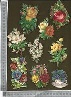 CHROMO DECOUPIS GAUFRÉ / LOT DE 9 MOTIFS FLEURIS DIFFÉRENTS - Flowers