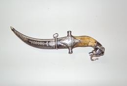 Poignard Damassé Indien Moghol Sikh Éléphant - Knives/Swords