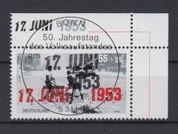 Bund 2342 Eckrand Rechts Oben Volksaufstand 17. Juni 1953 55 Cent ESST Bonn - BRD