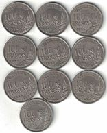 France Collection Of 10x 100 Franc Coins 1954-1958 All Listed & Different - France