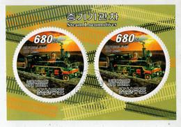 D.P.R.  KOREA    2008     STEAM   LOCOMOTIVES               S.SHEET     (TIMBRATO) - Corea Del Nord