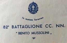 """FASCISMO  """"in Metas Furente"""" 82 BATTAGLIONE CC.NN. """" BENITO MUSSOLINI """" BUSTA E LETTERA INTESTATE POTENZA 4/6/35 - Historical Documents"""