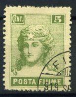 Rijeka 1919 Sass. 49 Oblitéré 100% 5 C. Vert Rijeka Poster - Fiume